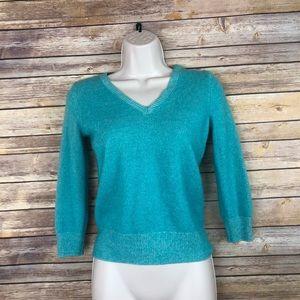 JCrew Teal Italian Cashmere sweater size XS